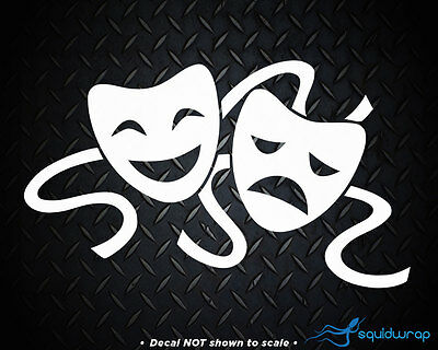 """Comedy Drama Tragedy Mask Acting Car Decal / Laptop Sticker - WHITE 6"""""""
