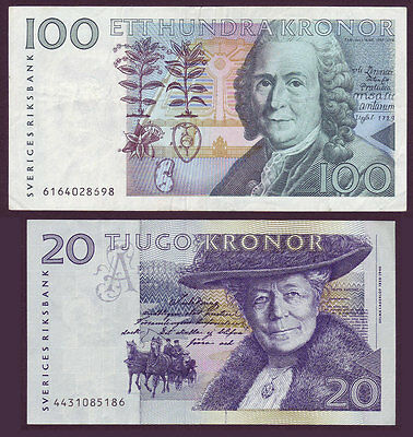 Sweden 2 Notes 20 Kronor & 100 Kronor EF Banknotes