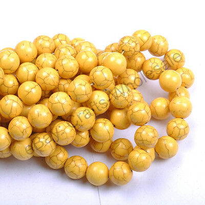 6MM 8MM 10MM 12MM 14MM Howlite Yellow Turquoise Gemstone Round Loose Beads