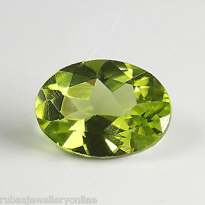 8x6mm FACETED OVAL GENUINE PARROT GREEN PERIDOT LOOSE GEMSTONE