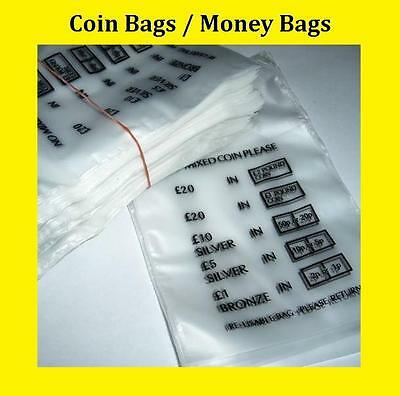 Plastic Coin Bags / Money Bags / Bank Bags - No Mixed Coins