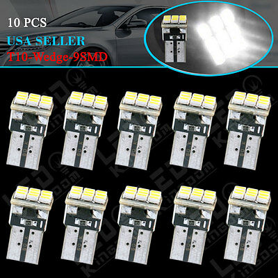 10X White T10 9-SMD Wedge Dome Map LED Interior Light Bulbs W5W 168 194 2825 12V