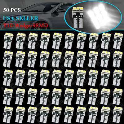 50 PCS Super White T10 Wedge 9-SMD Interior LED Light bulbs W5W 194 168 2825 158
