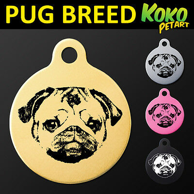 Pug Cute Round Pet Dog Puppy ID Tag Personalised Engraved Aluminium & Free Ring