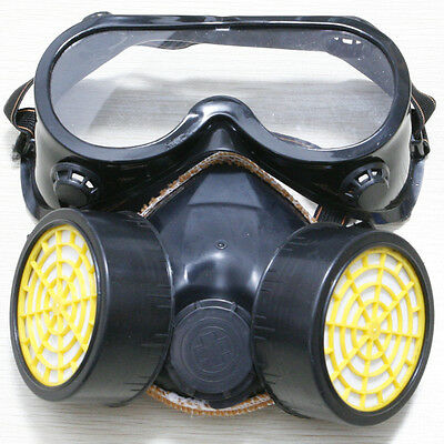 Dual Cartridge Respirator Mask Safety Anti-Dust Paint Filter Face Air + Glasses