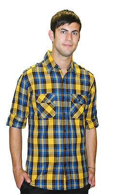 Mens Indie Retro New Vintage Fitted Yellow Plaid Lumberjack Shirt New S M L Xl