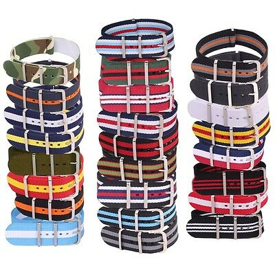 24mm Large Fiber Watchband Army Military Woven Nylon Watch Strap Wristwatch Band