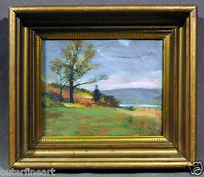 Colorful American Landscape 19th Cen. Oil Painting signed John Henry Twachtman