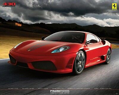 FERARRI Poster - Medium Size Sports Car Print ~ Red 430 Scuderia