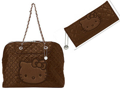NEW AUTHENTIC SANRIO HELLO KITTY BROWN TOTE BAG CREDIT CARD ID LONG WALLET quilt