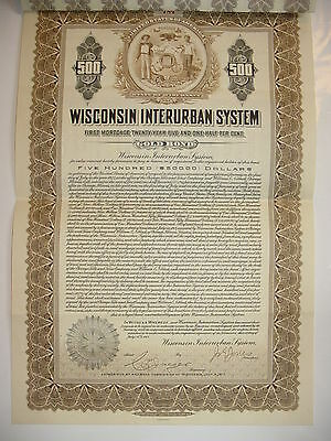 $500 Wisconsin Interurban System Bond Stock Certificate Railroad