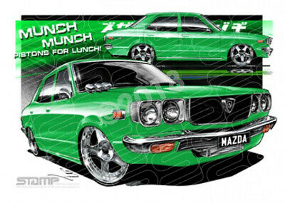 Imports Mazda RX3 GREEN  STRETCHED CANVAS (S012G)