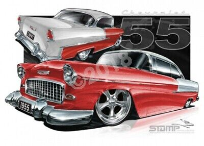 Classic 55 CHEV GYPSY RED/IVORY  STRETCHED CANVAS (C002B)-New_Itemq