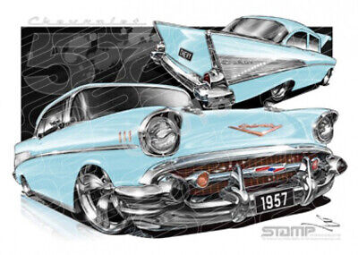 Classic 57 CHEVY LAKESPUR BLUE  STRETCHED CANVAS (C004F)-New_Itemq