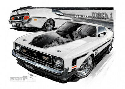 Mustang 1971 FORD MACH 1 RAM AIR MUSTANG FASTBACK WHITE  STRETCHED CANVAS (FT037