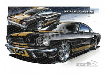 Mustang  1966 FORD SHELBY FASTBACK BLACK/GOLD  STRETCHED CANVAS (FT002)