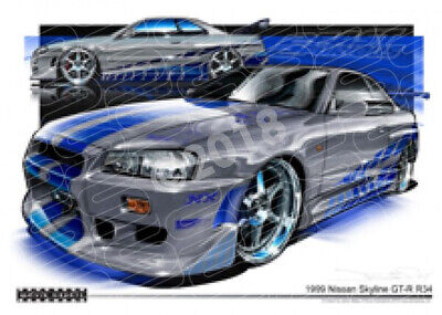 SKYLINE GT-R R34 FAST AND FURIOUS  STRETCHED CANVAS (M007)-New_Itemq