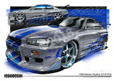 Skyline Gt-R R34 Fast And Furious  Stretched Canvas (M007)
