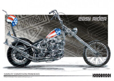 EASY RIDER CAPTAIN AMERICA HARLEY DAVIDSON  STRETCHED CANVAS (M010)-New_Itemq