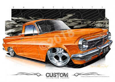 Ute EH 1963 HOLDEN EH UTILITY CUSTOM ORANGE  STRETCHED CANVAS (D007)