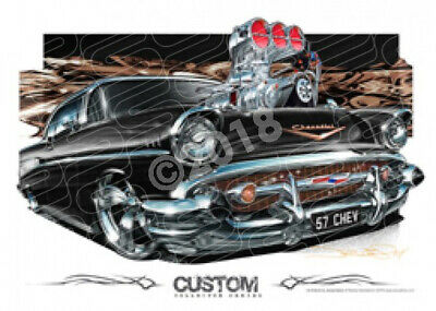 1957 CHEVY BLACK BLOWN  STRETCHED CANVAS (D014)-New_Itemq