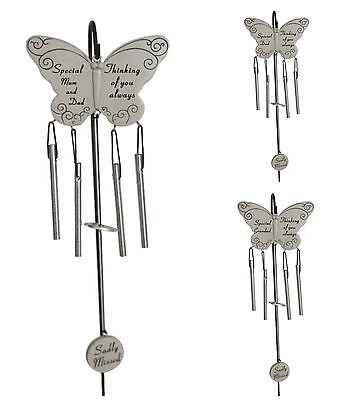Butterfly Wind Chime & Hanging Crook Memorial Graveside Cemetery Tribute