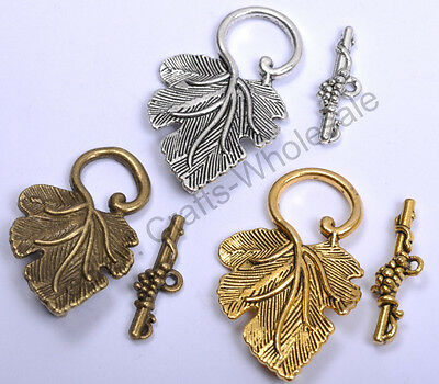 Wholesale 5Sets Silver/Gold Grape Jewelry Findings Leaf Toggle Clasp 37MM CW141