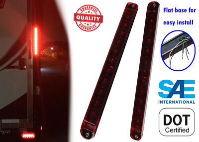 """2x RED 17"""" TRAILER TRUCK STOP TAIL AND TURN LIGHT BAR LED SEALED WATERPROOF"""