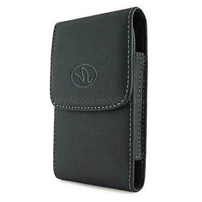 Black Leather Vertical Case Pouch Swivel Belt Clip Carrying Holster for Motorola
