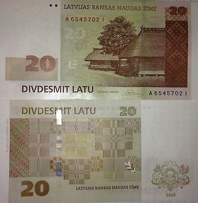 20 Lats Uncirculated Banknote of the Bank of Latvia 2009, 20 Lati, P-55b, UNC