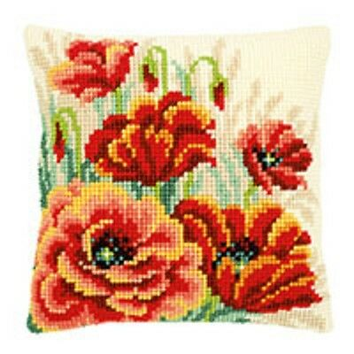 Poppies 2 - Large Holed Tapestry Cushion Kit/Printed Chunky Cross Stitch