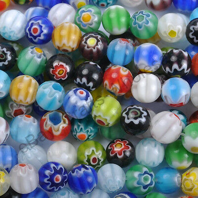10 & 100pcs Mixed Round MILLEFIORI Glass BEADS - Choose 4MM, 6MM & 8MM 10MM 12MM