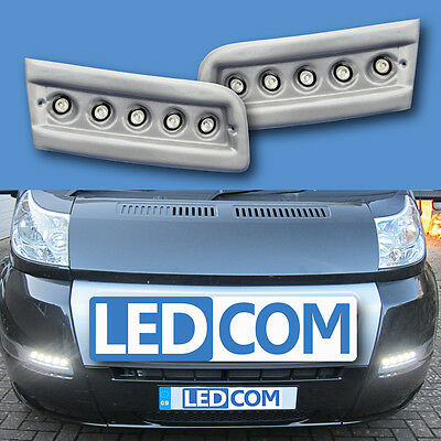 Daytime Running Lights DRL LED Pod Kit Fiat Ducato Boxer Relay Motorhome Silver