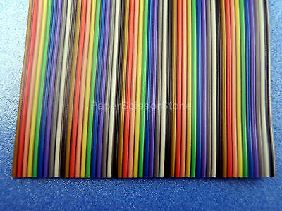 15ft 50 Way Flat Color Rainbow Multicolor Ribbon Cable Wire 28 AWG