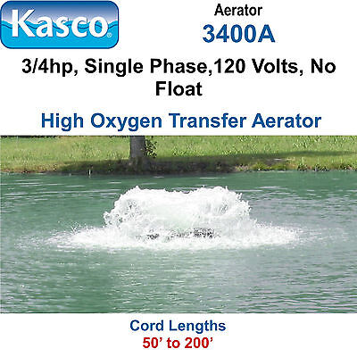 Kasco 3400A100 Aerator 3/4hp 120 volts 100' Cord, No Float