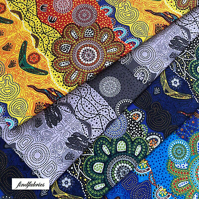 Australiana 100% Cotton Aboriginal Style Colours Fabric Patch Quilt Craft Labels