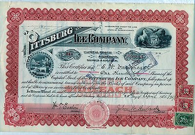Pittsburg Ice Company Stock Certificate Pennsylvania Pittsburgh