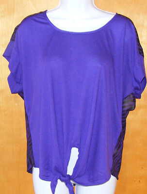 New Juniors Size Large Lei Solid Front Sheer Back Purple Tie Shirt Top