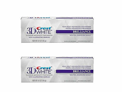 2 X NEW CREST 3D WHITE BRILLIANCE WHITE TEETH WHITENING TOOTHPASTE 4.1oz