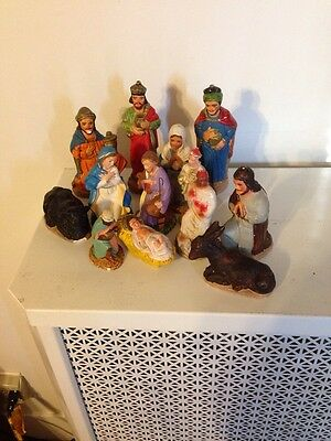 13 VINTAGE CHRISTMAS NATIVITY Set Handmade By Saint Michael's France Italy