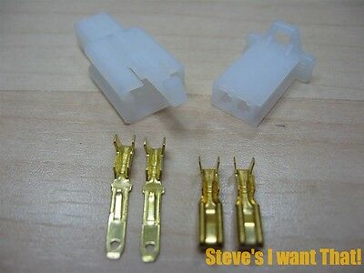 """Nylon Latching Connector Pair 2-pin 2.8mm 7/64"""" Male/Female 22-18AWG #E36A"""