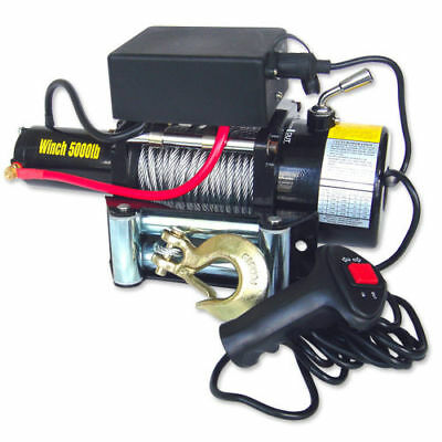 5000lb 12V Electric Winch Recovery Remote Controlled Front Mount Winch