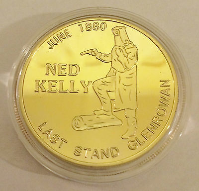 "2014 NED KELLY ""Last Stand"" Certified 1 Oz Coin, Finished in 24k 999 Gold"