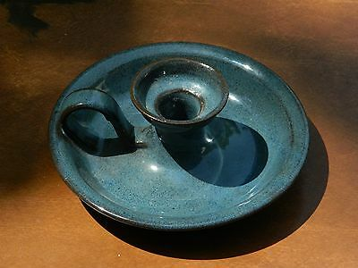 Beautiful Jugtown Pottery Blue/Brown Glazed Handled Chamberstick Candleholder