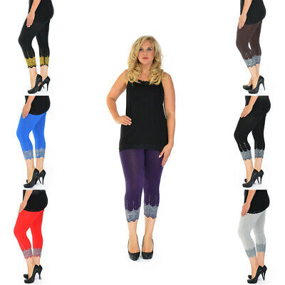 New Womens Plus Size Leggings Cropped Sequin Scallop Cut Beads Elastic Nouvelle