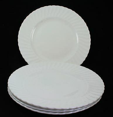 Royal Adderley Ridgway Fine Bone China White Swirl Dinner Plates Set of 4