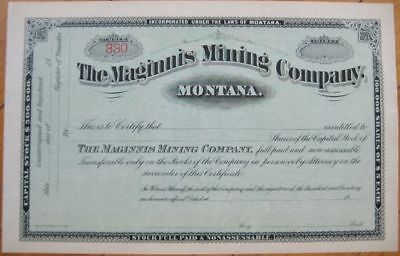1890s Stock Certificate: 'The Maginnis Mining Company' - Montana, MT