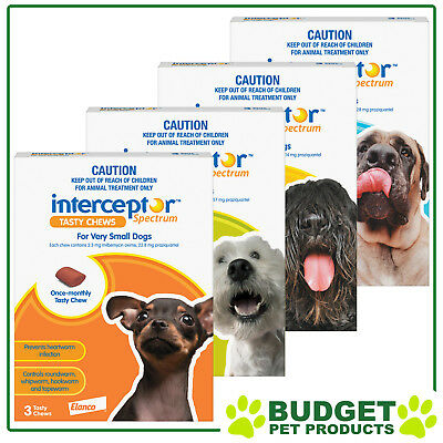 Interceptor Spectrum for Dogs Chewable Wormer 3 Chews - All Sizes Available