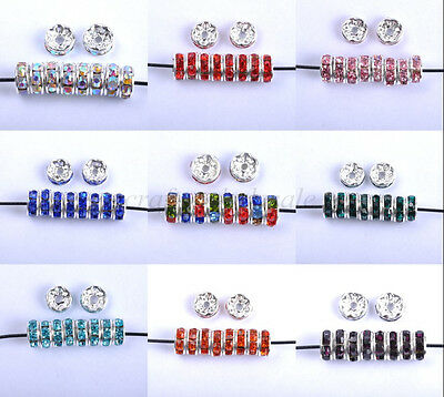30Pcs Czech Crystal Rhinestone Silver Rondelle Spacer Beads 6MM 7MM 8MM 10MM
