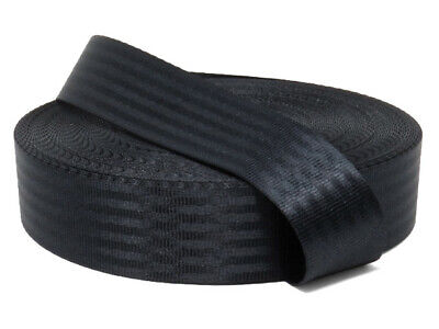 Polyester webbing, Seat belt webbing, 47mm, Black, soft and very strong